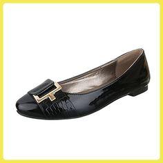 Ital-Design Ballerinas Damen-Schuhe Geschlossen Blockabsatz Blockabsatz Ballerinas Schwarz, Gr 37, 17-M52035A-