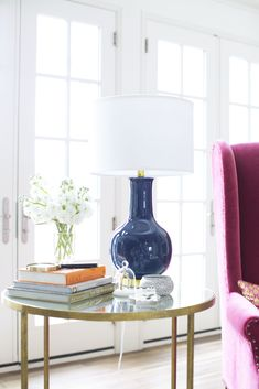 navy lamp + fuchsia chair