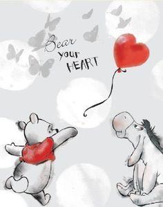 Disney Winnie the Pooh - Pooh Bear Your Heart Canvas Stretched Canvas Print Tigger And Pooh, Cute Winnie The Pooh, Winne The Pooh, Winnie The Pooh Quotes, Winnie The Pooh Friends, Pooh Bear, Eeyore, Arte Disney, Disney Art