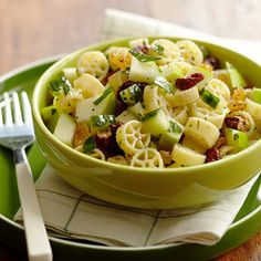 Apple Pasta Salad (via Parents.com)  Ingredients:  2 cups  cooked mini wagon wheel pasta  1 small Granny Smith apple, cored and chopped (1 cup)  1/2 medium cucumber, seeded and chopped (3/4 cup)  1/4 cup  chopped toasted pecans  1/4 cup  golden raisins  2 tablespoons  olive oil  1/4 teaspoon  salt  1/8 teaspoon  ground black pepper  1 tablespoon  chopped fresh parsley (optional)