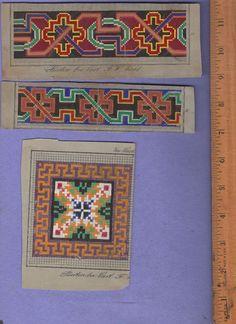 ORIGINAL berlin wool work 19c hand painted border design Carl F. W Wicht pattern   eBay