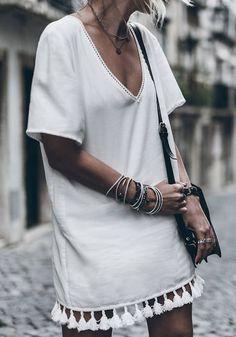 White Plain Tassel V-neck Fashion Cotton Blend Mini Dress