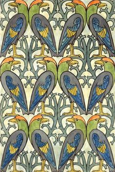 Design for wallpaper or textile, by C.F.A. Voysey