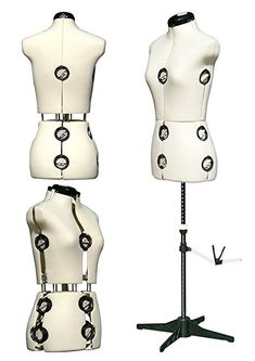 DEUBL Mystique Women's Mannequin Dummy Adjustable Professional Ladies Torso,8Pieces, Female Bust, Fully Adjustable with Four Leg Stand (Rotating and Height-Adjustable), With 12Wheels, Extra Adjustable Neck and Back Length, Includes Skirt Hem Marker with Pin Fixing, cream, Größe S (34-42)