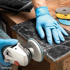 Save money and get a better-looking tile job by making your own trim pieces for marble, granite and other stone tile jobs. Use the honeycomb-style dry diamond polishing pads with hook-and-loop fasteners. They'll allow you to quickly run through a series of grits from 60 to 800 or higher without wasting a lot of time changing pads. This type of disc requires a variable speed grinder because the maximum allowable rpm is about 4,000.