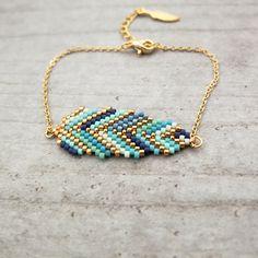 My-French-Touch - Bracelet ★plume ★ tissé en perles de verre Miyuki