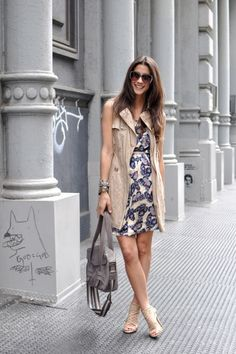 summer dress and trench vest