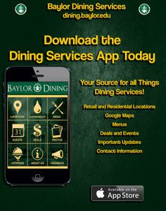 Ready for lunch? This is actually pretty handy. // Download the new #Baylor University Dining app!