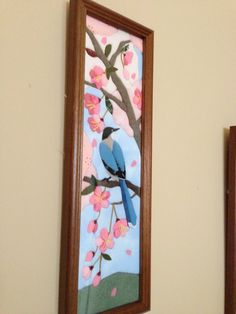 Bird and Sakura in cloth Applique Patterns, Flower Patterns, Quilt Patterns, Stained Glass Designs, Leather Art, Diy Projects To Try, Fabric Art, Art Forms, Quilt Blocks