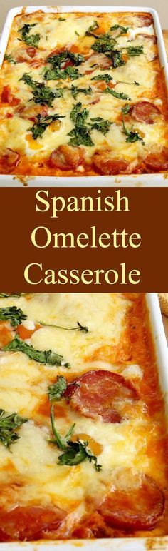 Spanish Omelette Casserole. A very easy and flexible baked casserole with eggs, cheese, potatoes and sausage. Suggestions for you to choose other ingredients to make it just how you like! Great for using up leftover roast dinners like turkey too! | Lovefoodies.com