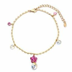 Pugster Golden Chain Dangle October Birthstone Rose Swarovski Crystal Moolight Round Ankle Bracelet Pugster. $15.99. 9 Inch to 10 inch Length Adjustable Anklet. Free Gift Box. Money-back Satisfaction Guarantee. Made with Swarovski Elements. The perfect accessory for evening or day wear