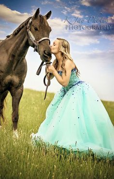Senior pictures, horse, prom dress