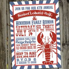Rock Lobster Boil or Lobster Bake Printable Party by partymonkey, $15.00