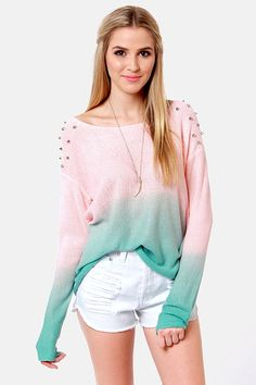 Dangerous Darling Pink and Turquoise Studded Ombre Sweater. Get 7% cash back http://studentrate.com/StudentRate/itp/get-itp-student-deals/LuLu-s-Student-Discount--/0