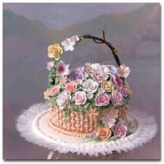 Flower Basket Cake Gorgeous Cakes, Pretty Cakes, Cute Cakes, Amazing Cakes, Buttercream Cake, Fondant Cakes, Cupcake Cakes, Flower Basket Cake, Super Torte