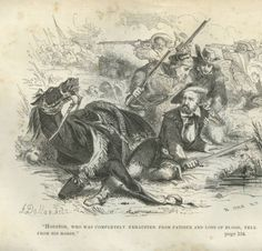 """General Sam Houston, falling from horse"" from the book ""The Life of Sam Houston"" by C. Edwards Lester, 1855. The text reads ""Houston, who was completely exhausted from fatigue and loss of blood, fell from his horse."""