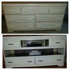 Refurbished dresser to entertainment center.