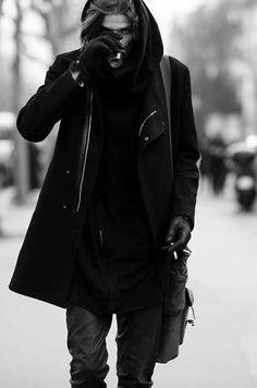 Character Inspiration (Visions of the Future // FMM : Photo) Dark Fashion, Gothic Fashion, Mens Fashion, Mode Sombre, Cyberpunk Fashion, Looks Black, Dark Photography, Men Street, Looks Cool