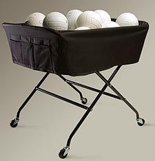 """• Oversized to hold 40 balls • Heavy duty powder coated steel • Black nylon liner includes side pockets • 42.5""""x32""""x3 