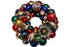Red Blue & Green Vintage Ornament Wreath