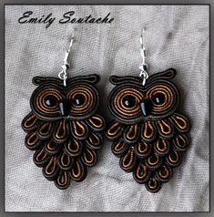 Soutache Pattern, Soutache Tutorial, Owl Jewelry, Clay Jewelry, Women Jewelry, Shibori, Ideas Joyería, Soutache Necklace, Owl Earrings