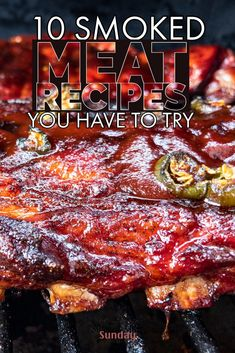 These are 10 of my favorite smoked meat recipes that my friends and family request over and over again. If you're looking for simple pellet grill recipes, look no further! recipes 10 Smoked Meat Recipes - You've Gotta Try - Smoked Meat Sunday Traeger Recipes, Smoked Meat Recipes, Smoked Pork, Rib Recipes, Venison Recipes, Sausage Recipes, Beef Ribs Recipe, Jerky Recipes, Mac Cheese Recipes