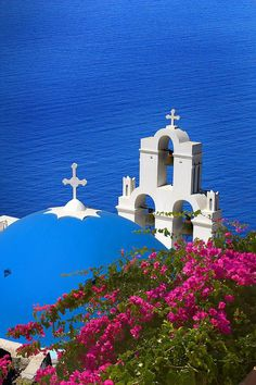 Greece Travel Inspiration - Blue Dome Church in Santorini