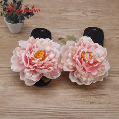 Large Peony Flower Fashion Sandal Female Summer Resort Beach Sandals Flip Flops Women's Slippers Shoes Non-slip