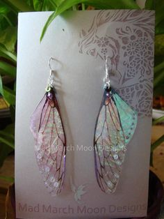 Fairy wing earrings iridescent cicada style with by MadMarchMoon, £9.50 made with sterling silver, beads, acrylic & acetate.