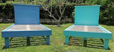 Have a look at the twin size beds after they are completed, one is painted blue and the other is light green. Both are giving an awesome look, if there are girls; then the paint of purple and pink color is perfect to make the beds look funky.