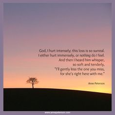 Grief, loss, intense pain, God understands, He's with our loved ones, Anne Peterson, poetry.  www.annepeterson.com http://eepurl.com/bo_xlL : sign up.