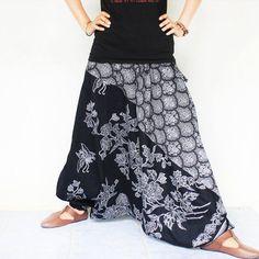 black and white flowers  Thai batik  Hand made by meatballtheory, $25.00