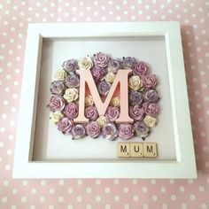 Personalised Initial and Rose Keepsake Frame in x Box Frame - Occasion/Gift/Nursery/Keepsake by ArtyCraftyMama on Etsy Diy Xmas Gifts, Diy Gifts For Friends, Handmade Christmas, Mom Gifts, Handmade Gifts, Scrabble Crafts, Scrabble Frame, Scrabble Art, Personalized Photo Frames