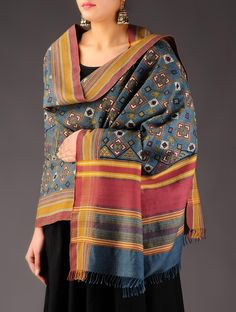 Buy Steel Blue Multicolor Wool Hand Embroidered Shawl Accessories Shawls Dune Diaries & Silk Drapes Blouse Pieces from Kutch Online at Jaypore.com