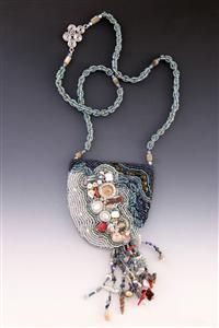Tidepool - bead-embroidered and fringed pendant necklace by Leah Henriquez Ready
