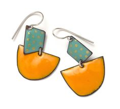 Image of Mint Kite, Orange Moon & golden enamel earrings