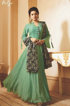 Light Green Nitya Ready made Designer Kurti - Shop Online for women Party Wear Gowns Online, Gold Gown, Saree Shopping, Floral Gown, Indian Ethnic Wear, Western Outfits, Green Dress, Evening Gowns, Fashion Dresses