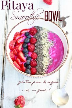 Pitaya Smoothie Bowl.  Made with Pitaya Plus Dragonfruit, ripe bananas and cashew butter.  Top it off with sliced strawberries, blueberries, raspberries, chia seeds and hemp seeds.  A great way to start your day! Full recipe on the blog.  Ready in only 10 minutes.