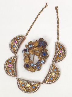 vintage miriam haskell brooch and necklace