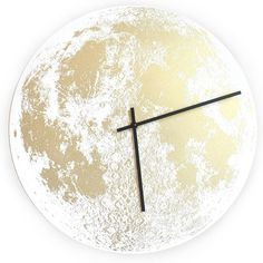 Little Lark Gold Moon Clock ($150) ❤ liked on Polyvore featuring home, home decor, clocks, handmade clocks, neon wall clock, black wall clock, apple home decor and gold home decor