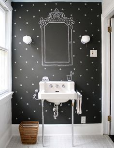 Too cute! Chalkboard Powder Room Cute idea, but i just like the color and polka dots.