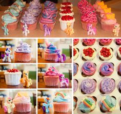 My Little Pony Friendship is Magic Cupcakes (Rainbow Dash, Rarity, Twilight Sparkle, Applejack, Pinkie Pie, Fluttershy ... they're all here!) - via Fit Family Project