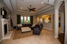 Traditional Living Room with Pottery Barn Turner Square Arm Leather 3-Piece Sectional with Corner, Carpet, High ceiling