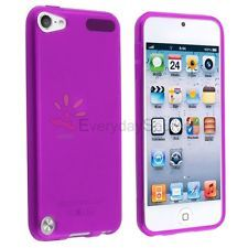 For iPod touch 5 5G 5th Gen Frost Clear Purple TPU Rubber Soft Gel Case Cover