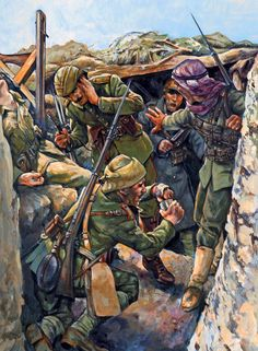 Ottoman troops in Gallipoli, November 1915 Military Diorama, Military Art, Military History, World War One, Second World, First World, Ww1 Art, Ww1 Photos, Turkish Army