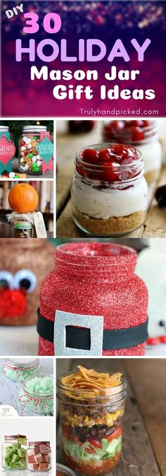 30 DIY Holiday Mason Jar Gifts: 30 Extremely appetizing edible gifts, bath salt in a jar: Cookies, Pancake mix, Brownie Mix, hot Chocolate, Cheesecakes, Caramel Snacks, Sauces, Instant Salads in Mason Jar. Homemade Christmas Mason Jar Gift Ideas for Kids and Adults.