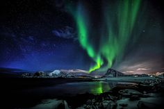 Heavy Northern lights activity above Mt.Offersøykammen in Lofoten, northern Norway First Class Hotel, See The Northern Lights, Green Dragon, Lofoten, Enter To Win, Round Trip, Free Travel, Iceland, Norway