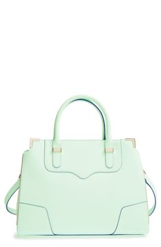 Crushing on the pretty mint color of this Rebecca Minkoff structured leather satchel. Perfect for both spring and summer!