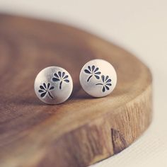 Tiny posts  studs  earrings  sterling silver  by PeculiarForest, €20.00