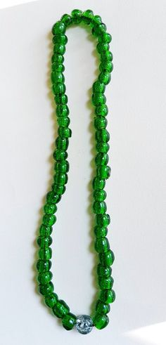 Green Beaded Stretch Necklace Green Necklace Stretchy by NiikNakks